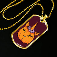Unicorn Pumpkin Halloween Military Dog Tag, Gifts for Trick Treat Costume Party