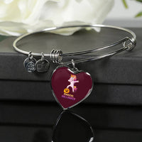 Dabbing Halloween Unicorn Heart Pendant Bangle Bracelet, Gifts for Pumpkin Candy Treat Scary Trick
