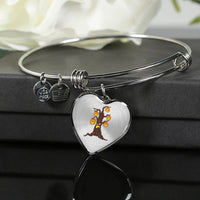 Halloween Pumpkin Tree Heart Pendant Bangle Bracelet, Gifts for Candy Treat Scary Trick