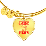 Justice for Mews Heart Pendant Bangle Bracelet, Christmas Gifts for Cat Lovers