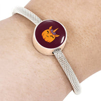 Unicorn Pumpkin Halloween Circle Charm Steel Bracelet, Gifts for Trick Treat Costume Party