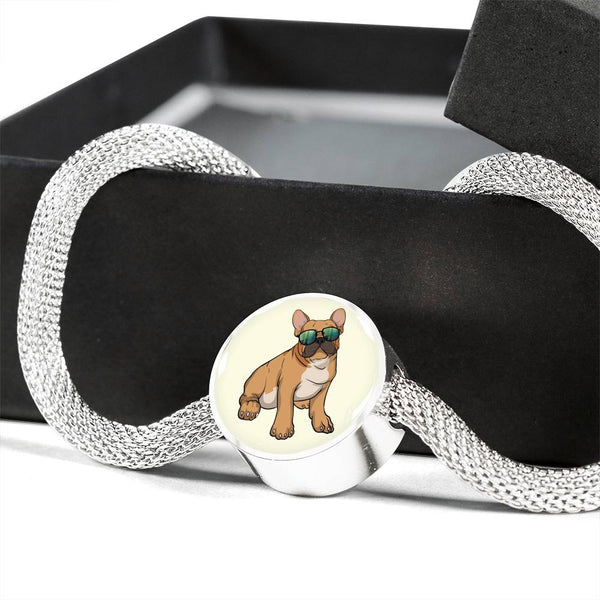 French Bulldog Charm Steel Bracelet, Cute Gift for Cute Dog Lovers
