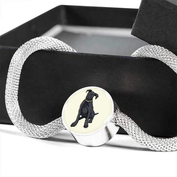 Black Labrador Charm Steel Bracelet, Funny Gift for Cute Dog Lovers