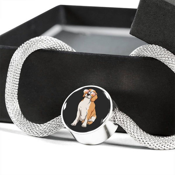Beagle Charm Steel Bracelet, Funny Gift for Cute Dog Lovers