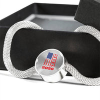 Trump 2020 USA Flag Circle Charm Steel Bracelet, Gifts for Republicans Conservative
