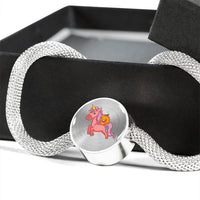 Halloween Unicorn Pumpkin Circle Charm Steel Bracelet, Gifts for Trick Treat Party