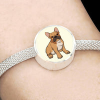 French Bulldog Charm Steel Bracelet, Funny Gift for Cute Dog Lovers