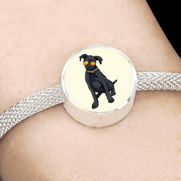 Black Labrador Charm Steel Bracelet, Cute Gift for Cute Dog Lovers