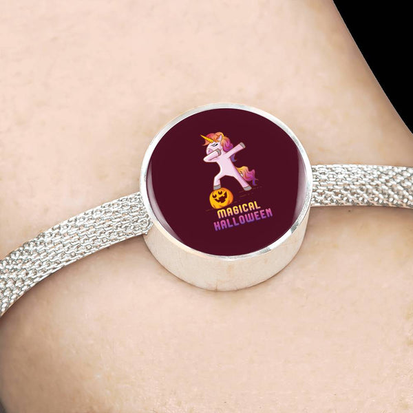 Dabbing Halloween Unicorn Circle Charm Steel Bracelet, Gifts for Pumpkin Candy Treat Scary Trick