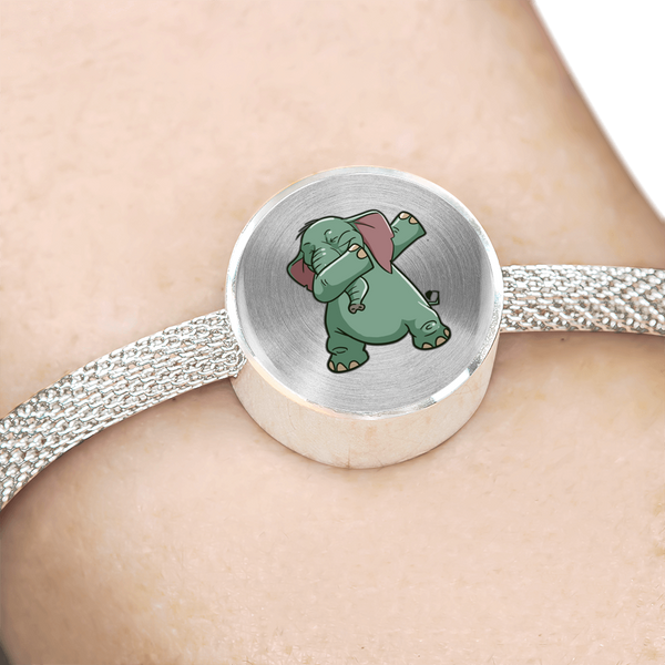 Elephant Circle Charm Steel Bracelet, Funny Dabbing Gifts for Animal Dance Lovers
