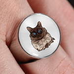 Balinese Cat Signet Ring, Cat Lover Gifts 9186A