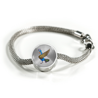 Peacock Circle Charm Steel Bracelet, Bird Lover Gifts