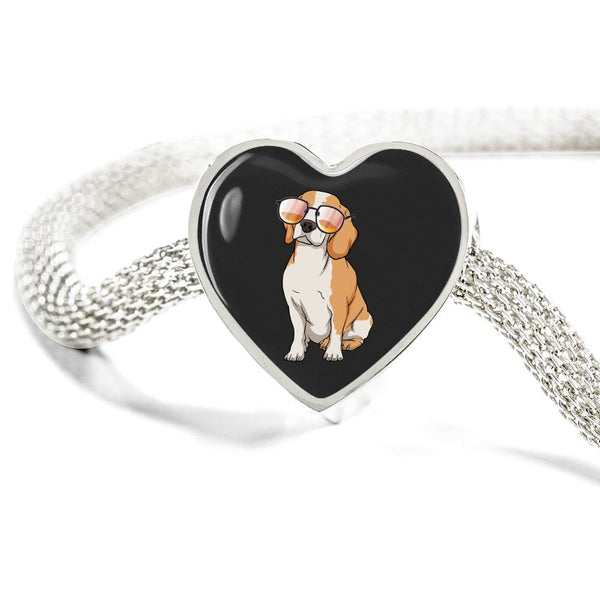 Beagle Heart Charm Steel Bracelet, Funny Gift for Cute Dog Lovers