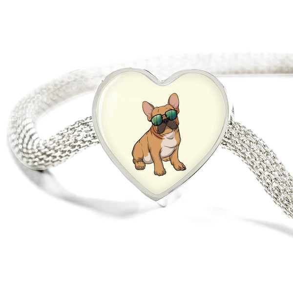 French Bulldog Heart Charm Steel Bracelet, Cute Gift for Cute Dog Lovers