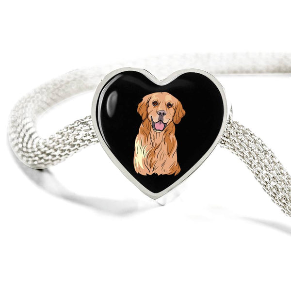 Golden Labrador Retriever Heart Charm Steel Bracelet, Cute Gift for Dog Lovers