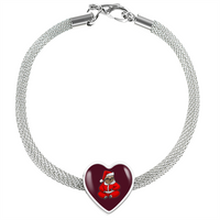 Sloth Santa Heart Charm Steel Bracelet, Christmas Gifts for Sloth Lovers