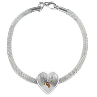 Christmas Ornaments Deer Heart Charm Steel Bracelet, Christmas Gifts for Hunting Lovers