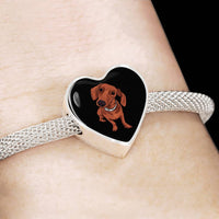Dachshund Charm Steel Bracelet, Funny Gift for Cute Dog Lovers