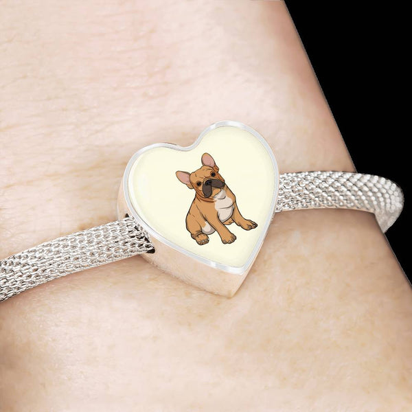 French Bulldog  Heart Charm Steel Bracelet, Funny Gift for Cute Dog Lovers