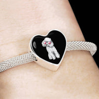 Poodle Heart Charm Steel Bracelet, Cute Gift for Cute Dog Lovers