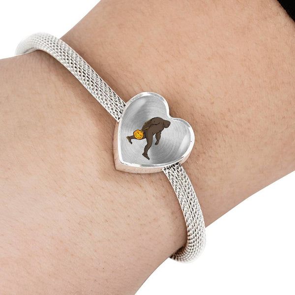 Halloween Bigfoot Sasquatch Pumpkin Heart Charm Steel Bracelet, Gifts for Costume Party
