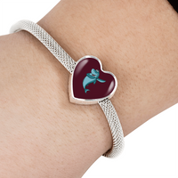 Shark Heart Charm Steel Bracelet, Dabbing Gifts for Fishing Lovers