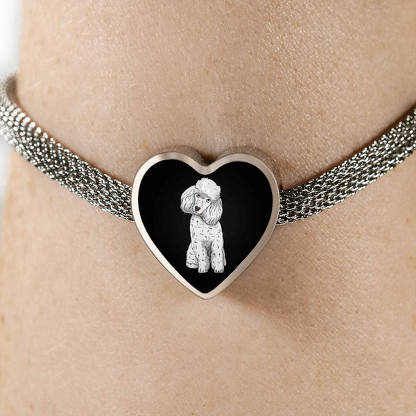 Poodle Heart Charm Steel Bracelet, Funny Gift for Cute Dog Lovers