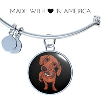 Dachshund Pendant Necklace Bangle, Funny Gift for Cute Dog Lovers