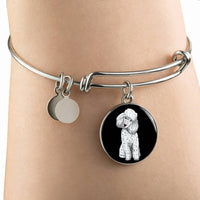 Poodle Pendant Necklace Bangle, Funny Gift for Cute Dog Lovers