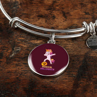 Dabbing Halloween Unicorn Circle Pendant Bangle Bracelet, Gifts for Pumpkin Candy Treat Scary Trick