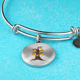 Halloween Pumpkin Tree Circle Pendant Bangle Bracelet, Gifts for Candy Treat Scary Trick