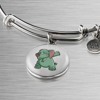 Elephant Circle Pendant Bangle Bracelet, Funny Dabbing Gifts for Animal Dance Lovers