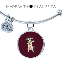 Dabbing Cow Circle Pendant Bangle Bracelet, Gifts for Farm Animal Lovers