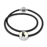 Black Labrador Charm Leather Bracelet, Cute Gift for Cute Dog Lovers