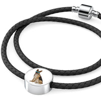 German Shepherd Charm Leather Bracelet, Cute Gift for Dog Lovers