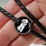 Poodle Charm Leather Bracelet, Cute Gift for Cute Dog Lovers