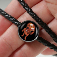 Dachshund Charm Leather Bracelet, Cute Gift for Cute Dog Lovers