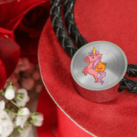 Halloween Unicorn Pumpkin Circle Charm Leather Bracelet, Gifts for Trick Treat Party