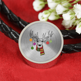 Christmas Ornaments Deer Circle Charm Leather Bracelet, Christmas Gifts for Hunting Lovers