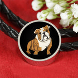 Bulldog Charm Leather Bracelet, Funny Gift for Cute Dog Lovers