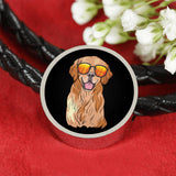 Golden Labrador Retriever Charm Leather Bracelet, Funny Gift for Dog Lovers