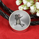 Dabbing Mouse Rat Circle Charm Leather Bracelet, Gifts for Rodent Lovers