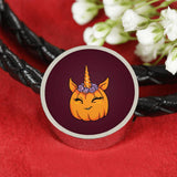Unicorn Pumpkin Halloween Circle Charm Leather Bracelet, Gifts for Trick Treat Costume Party