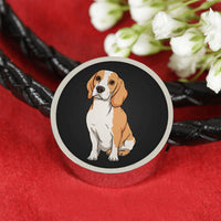 Beagle Charm Leather Bracelet, Funny Gift for Cute Dog Lovers