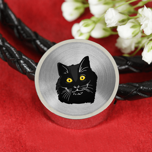 Bombay Cat Circle Charm Leather Bracelet, Cat Lover Gifts 9189A