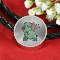 Elephant Circle Charm Leather Bracelet, Funny Dabbing Gifts for Animal Dance Lovers