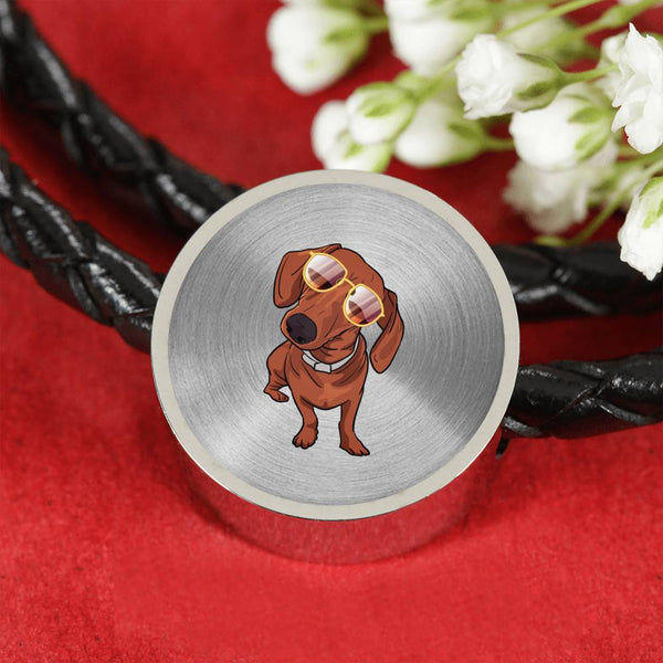 Dachshund wth Sunglasses Funny Circle Charm Leather Bracelet, Gifts for Dog Puppy Lovers