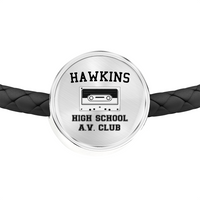 Hawkins High School Circle Charm Leather Bracelet, Christmas Gifts for AV Club Lovers
