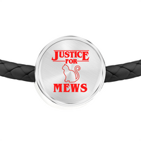 Justice for Mews Circle Charm Leather Bracelet, Christmas Gifts for Cat Lovers