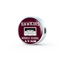 Hawkins Middle School AV Club Leather Round Charm Bracelet